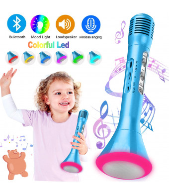 Kids Karaoke Machine Wireless Singing Microphone with Bluetooth Handheld Portable Music Playing Toys Flash Colorful LED Lights for Boys Girls St Patrick's Day Home Party Birthday Gifts Andriod iOS PC
