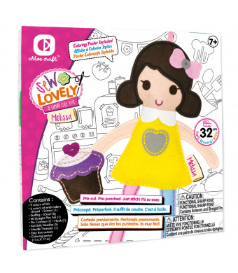 Chloe Craft Sew Lovely Dolls - Educational Sewing Kit with Everything Included Pre-Cut Pre-Punched Just Stitch! (Melissa)
