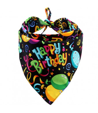 MIAPETTB Dog Birthday Bandana Triangle Bibs Scarf Accessories Black