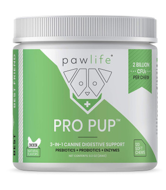 pawlife Probiotics for Dogs - 3-in-1 Formula with Probiotics, Prebiotics, and Digestive Enzymes for Diarrhea, Constipation, Yeast Infections, Allergies, Hot Spots - 120 Dog Probiotic Soft Chews