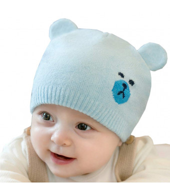 Chihom Infant Baby Boys Girls Knitted Hat with Earflaps Cute Beanie Skull Cap Warm Cuff Bear Caps