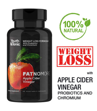 High Potency ACV with Probiotics, Chromium, Cayenne Pepper and Aloe Vera. Detox Cleanse Weight Loss Pills, Appetite Suppressant and Metabolism Booster. 60 Veggie Servings Apple Cider Vinegar Capsules