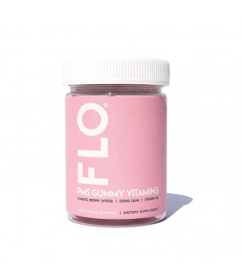 FLO - PMS Gummy Vitamins With Chaste Berry, Vitamin B6 and Dong Quai | All Natural Chewable Dietary Supplement | Alleviate Cramps, Support Better Mood, Ease Bloating, Curb Cravings and Soothe Irritability