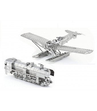3D Metal Puzzle Models of A Hansa Brandenburg W.29 Plane and A Steam Locomotive - DIY Toy Metal Sheets Assembling Puzzle, 3D Puzzle  2 Pack