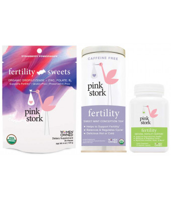 Pink Stork Fertility Bundle: Fertility Tea, Sweets and Support Supplements, for Hormone Balance and Cycle Regulation, Support Fertility Naturally Drug Free