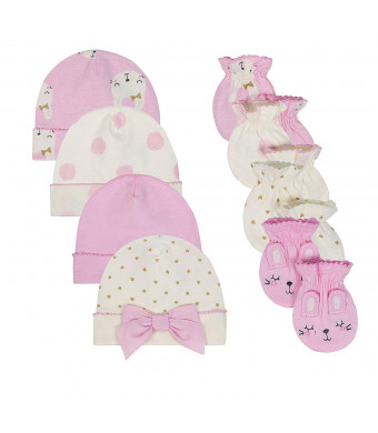 Just Born Baby Girls' 8-Piece Cap and Mitten Bundle