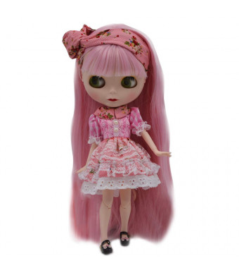 1/6 BJD Doll is Similar to Neo Blythe, 4-Color Changing Eyes Matte Face and Ball Jointed Body Dolls, 12 Inch Customized Dolls Can Changed Makeup and Dress DIY, Nude Doll Sold Exclude Clothes (Pink1)