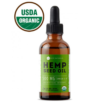 Organic Hemp Seed Oil Drops 500mg by Kate Naturals - Premium Pain Relief Anti-Inflammatory and Joint Support, Perfectly Balanced Essential Fatty Acids Omega 3, 6. Easily Digestible, Non-GMO, Ultra-Pure
