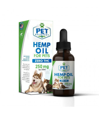 Hemp Oil for Pets - Calming, Stress and Anxiety Support, Hip and Joint Pain Relief - 250mg, Organic and Tested, Made in USA - 1oz (30ml)