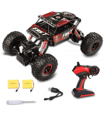 Fancy Buying Toy RC Remote Control Car Off-Road Rock Crawler Power Wheel Monster Racing Truck Vehicle 3 Channels 4 Wheel Drive (Red)