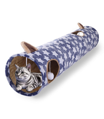 Luckitty Large Cat Toys Collapsible Tunnel Tube with Plush Balls for Rabbits, Kittens, Ferrets,Puppy and Dogs