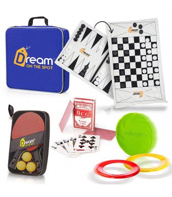 Camping Games Set - 5 Outdoor and Indoor Games - Family yard games, Fun for Adults, Kids, Teens and Dogs. Compact and Light. Organized in a Convenient Blue Bag. Board, Physical and Card Games