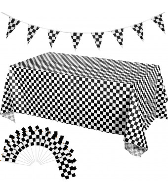 Leinuosen 28 Pack Checkered Tablecloth Flag Banner Kit Includes 25 Pack Checkered Racing Flags 2 Pack Checkered Tablecloths 1 Set 32.8 ft Checkered Pennant Flag Banner for Race Themed Party Sports Eve