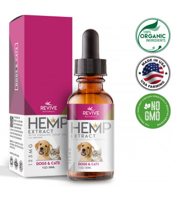 Organic Hemp Oil Dogs Cats - Supports Hip and Joint Health, Helps Relieve Pain and Separation Anxiety. Blended with Organic Hemp Oil for Optimal Absorption, 1oz