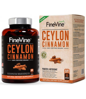 Organic Ceylon Cinnamon Capsules - for Joint Support, Blood Sugar Support, Improves Cardiovascular and Digestive Systems. Best Anti-Inflammatory and Antioxidant Natural Supplement, 60 caps.