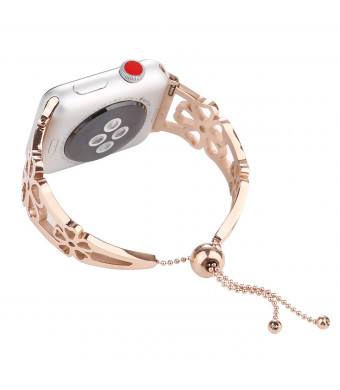 WONMILLE Bracelet for Apple Watch Band 38mm, Classy Stainless Steel Jewelry Bangle for iWatch Bands Strap Wristbands Unique Fancy Style for Women Girls with Pendant and Tassel (Flower Rose Gold-38mm)