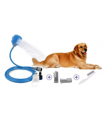 JeonbiuPet Pet Shower Sprayer, 3 in 1 Dog Cat Grooming Shower Kit with 8 FT Hose and 2 Adapters -Bonus with Dental Finger Toothbrush and Flea Comb