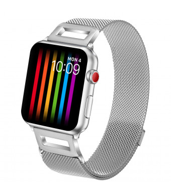 Amzelas Compatible Bands Replacement for Apple Watch Series 4 3 2 1 38mm 40mm 42mm 44mm, Milanese Loop Sport Straps with Magnetic Closure for iWatch Wristbands All Models (Silver, 42mm/44mm)