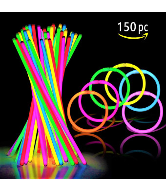 "150 Ultra Bright Glow Sticks - 8"" Necklaces And Bracelets Glow Stick With Connectors - Bulk Party Pack Ultra Bright Glowsticks - 10 Hour Duration - Mixed Colors In 3 Tubes"