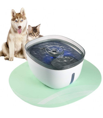 Petacc Cat Dog Fountain Automatic Pet Water Dispenser Electric Ultra-Quiet Pet Drinking Fountain with Clear Window Design, Silicone Anti-Skid Mat and LED Light, 2.2L Water Capacity