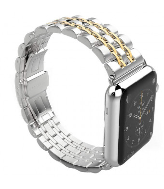 YOUTIME Bands Compatible with iWatch 42mm 44mm, Premium Metal Link Bracelet Accessories Replacement Bands for iWatch Series 4/3/2/1 (Silver Gold, 44mm/42mm)