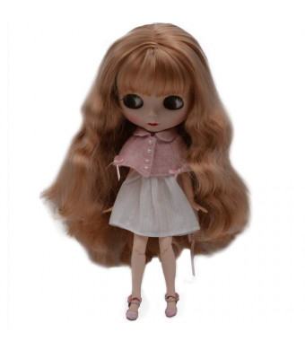 1/6 BJD Doll is Similar to Neo Blythe, 4-Color Changing Eyes Matte Face and Ball Jointed Body Dolls, 12 Inch Customized Dolls Can Changed Makeup and Dress DIY, Nude Doll Sold Exclude Clothes (Brown2)