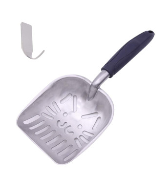 GUEQUITLEX Cat Litter Scoops Sifter Deep Shovel Non Stick Solid Aluminum Alloy Cat Litter Scooper Jumbo Size a Free Hook