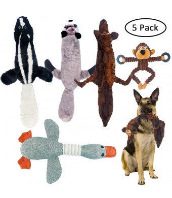 FinalBase Dog Squeaky Toys No Stuffing Dog Toy Plush Animal Chew Toygs Hunting Traning Pet Toy for Dog- Set of 5 Pieces