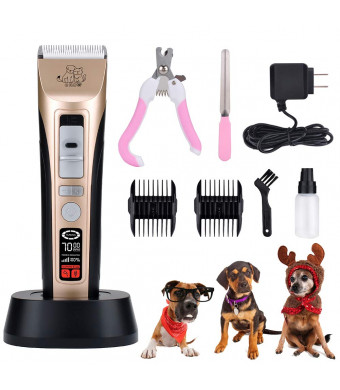 Pet Grooming Clippers - Pet Hair Clippers Low Noise Dog Grooming Kit Heavy Duty Dog Clippers Rechargeable Dog Trimmer Professional Cat Shaver LCD Screen Pet Electric Clippers for Dogs Cats