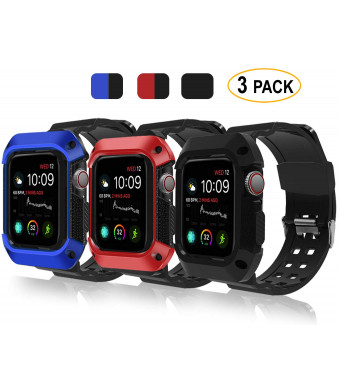 FAANDFA ELAIKEMENT Compatible for Apple Watch Band with Case 44mm 2018, Rugged Protective Bumper Case Soft Silicone Sport Strap Compatible with iWatch Series 4 44mm - 3PACK
