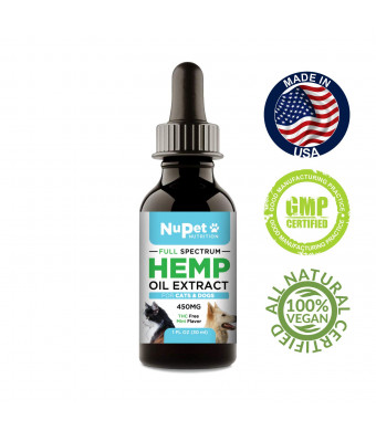 Nupet Nutrition Hemp Oil Dogs Cats | Supplement Joint Pain - Best Relief Anxiety, Inflammation Arthritis Overall Dog Health