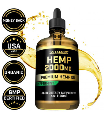 iVitamins Hemp Oil Drops - 2,000mg - May Help with Pain, Anxiety, Sleep, Mood, Depression, Headaches + MORE! - Natural Full Spectrum Hemp Seed Extract - Zero THC CBD Cannabidiol :: Rich in Omega 3,6,9