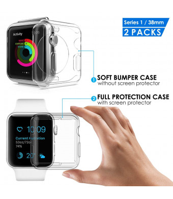 AMPRICH Compatible with Apple Watch Protective Cases [2Packs],Built-in Soft Clear TPU Screen Protector All-Around Cover and One Protective Bumper,Compatible with iWatch Series 1 42mm