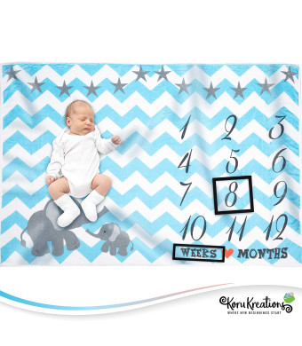 Baby Monthly Milestone Blanket for Boys | Perfect Baby Shower Gifts | 100% Quality Soft Fleece Baby Blanket | Large Personalized Elephant Background Newborn Photography Props | (Blue)