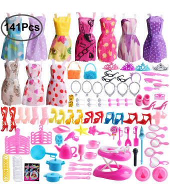 Outee 141 Pack Doll Clothes Set Xmas Gift Doll Accessories Including 10 Pcs Clothes 131 Accessories Party Grown Outfit for Kids Girls Party