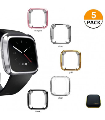 5 Packs Compatible Fitbit Versa Case, Fitbit Versa Screen Protector Case-Soft TPU Plated Case Full Protective Bumper Shell Cover Compatible Fitbit Versa Smart Watch (5 Packs+1Package)