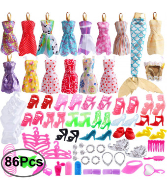 Outee 86 Pcs Doll Clothes Set Xmas Gift for Party Grown Outfit Including 16 Pcs Clothes 70 Pcs Accessories for Girls Kids Party Birthday Gifts