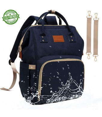 Baby Diaper Bag Backpack  Large Diaper Backpack for Mom Dad with Stroller Straps, Multi-Function, Waterproof, Stylish and Durable Travel Diaper Bags for Girls and Boys (Navy Blue)
