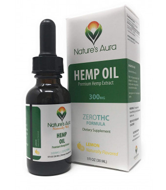 Nature's Aura Hemp Oil Drops (Lemon) Reduce Pain and Swelling, DHA to Stimulate Brain Health, Promotes Healthy hormonal balances - 1 Fl Oz (30 ml)