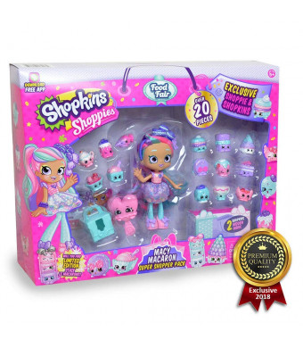 Shopkins Shoppies Macy Macaron Exclusive Super Shopper Pack - Girls Day Out Doll Food Fair Shopping Spree (20+Piece)