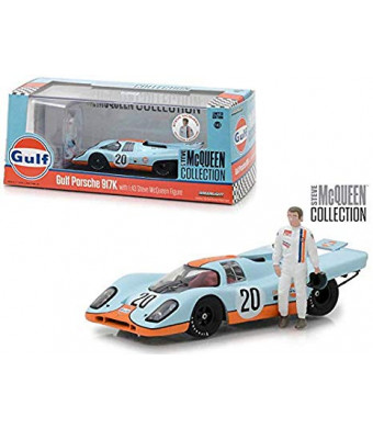 New DIECAST Toys CAR Greenlight 1:43 Steve McQueen Collection - Gulf Porsche 917K with Steve McQueen Figure 86435