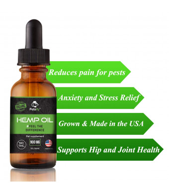 Petsify Organic Hemp Oil for Dogs and Cats | Anxiety and Pain Relief, Hip and Joint Supplement, Calming Aids for Pets, Great for Arthritis |Pure Cold Pressed, Natural Product | Made in USA, 30ml