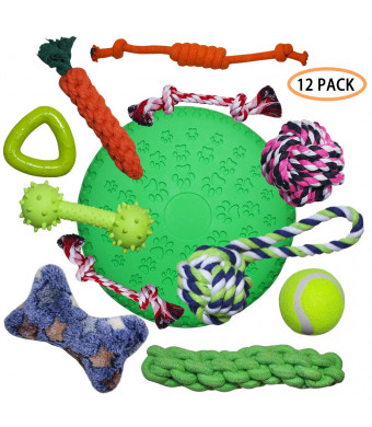 CN Dog Chew Toys 12 Pack - Rope Toys, Durable Ball, Soft Frisbee, Squeaky Toy, Silicone Teething Stick for Small Medium Large Pet Dogs Cats