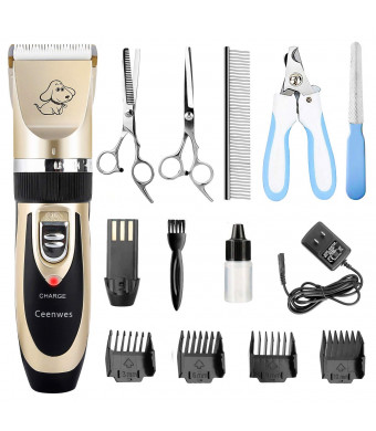 Ceenwes Dog Clippers Low Noise Pet Clippers Rechargeable Dog Trimmer Cordless Pet Grooming Tool Professional Dog Hair Trimmer with Comb Guides Scissors Nail Kits for Dogs Cats and Other Hairy Animals