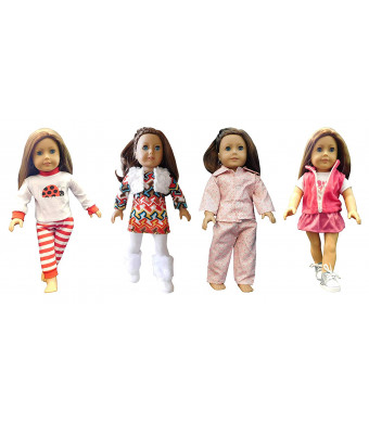 Design by Nikole Doll Clothes for 18 inch Doll |12 Piece Deluxe Bundle | 4 Outfits and 2 Pairs of Shoes| Fits American Girl Dolls, Alexander Dolls, and My Generation