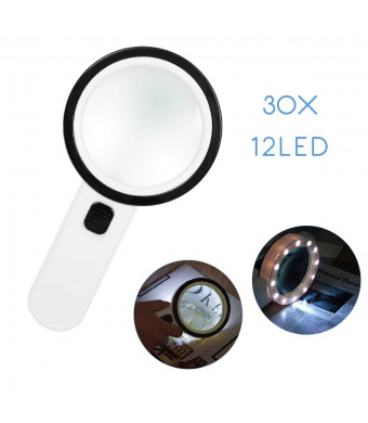 Magnifying Glass with Light,30X Handheld Extra Large 12 LED Illuminated Lighted Magnifier for Macular Degeneration,Seniors Reading, Soldering, Inspection, Coins, Jewelry, Exploring,Reading (White)