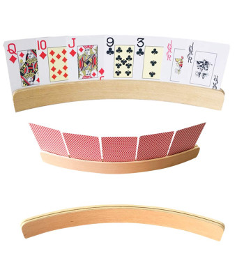 WFGOGO 14 inch Curved Wooden Playing Card Holders, Wooden Card Art Crafts Holder Set of 4