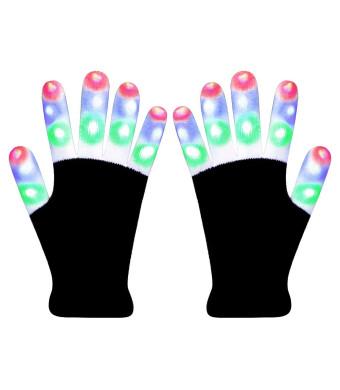 Hpory LED Gloves Light Up Gloves, Finger Light Gloves for Kids, Flashing Light Gloves 6 Modes for Halloween, Christmas, Birthday Party