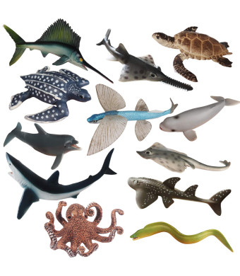 CatchStar Ocean Sea Animal Bath Toys Realistic Sea Life Ocean Creatures Figure Durable Waterproof Figurines Toys Gift for Kids