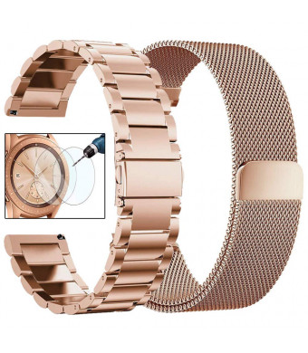 CAGOS Compatible Galaxy Watch 42mm/Galaxy Watch Active Bands Sets, 20mm 2 Pack Stainless Steel Band+Milanese Loop Mesh Bracelet for Samsung Galaxy Watch 42mm /Ticwatch E Smartwatch - Rose Gold